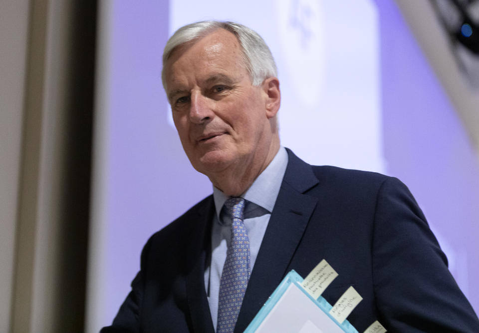 BRUSSELS, BELGIUM - MAY 15: European Commissions UK Task Force Chief Negotiator, Michel Barnier talks to media about the third round of talks with the United Kingdom on Brexit on May 15, 2020 in Brussels, Belgium. On March 19, 2020 Michel Barnier tested positive for coronavirus. (Photo by Thierry Monasse/Getty Images)