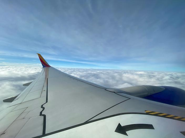 Flying on a Southwest Airlines flight from New York to Nashville.