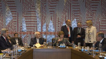 Kerry, Zarif, Ashton and Lavrov are seated during a meeting of the foreign ministers representing the permanent five member countries of the United Nations Security Council, including Germany, at UN Headquarters in New York