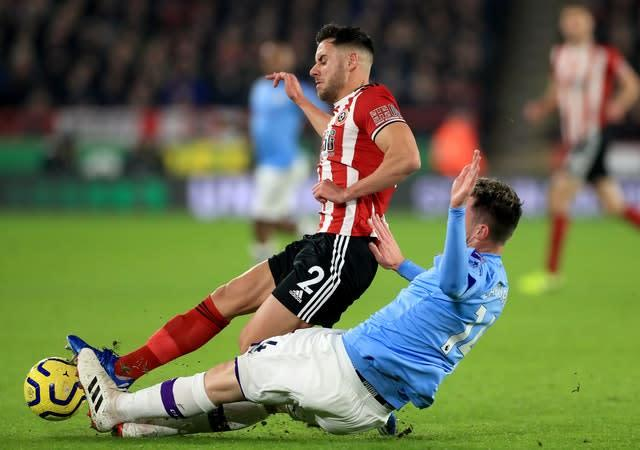 Aymeric Laporte was back in the Manchester City team (Mike Egerton/PA)