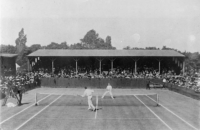 Final of the 1910 All-comers' Singles tennis match at Wimbledon, London, England, featuring Anthony Wilding and Beals Wright. From - Anthony Frederick Wilding, On the court and off (London : Methuen, 1912) opposite p130.