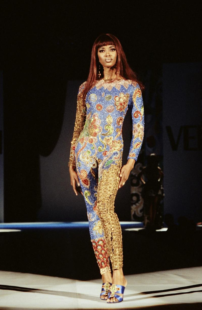 Naomi Campbell walks the runway of the Versace fall/winter 1991 show in Los Angeles, 1991. Photo courtesy of Getty Images.