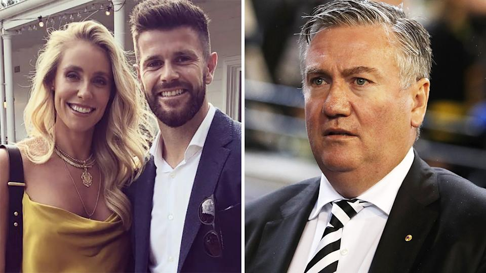 A 50-50 split image shows Trent and Brooke Cotchin on the left in a shot from Instagram, and Collingwood's Eddie McGuire on the right.