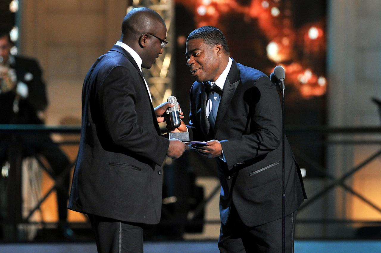 NEW YORK, NY - APRIL 28:  (L-R) Hannibal Buress and Tracy Morgan speak onstage at The Comedy Awards 2012 at Hammerstein Ballroom on April 28, 2012 in New York City.  (Photo by Theo Wargo/Getty Images)