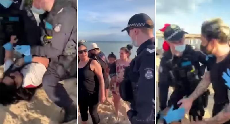 Stills from a video of Victoria Police trying to arrest a woman at a Melbourne beach for breaching coronavirus rules.