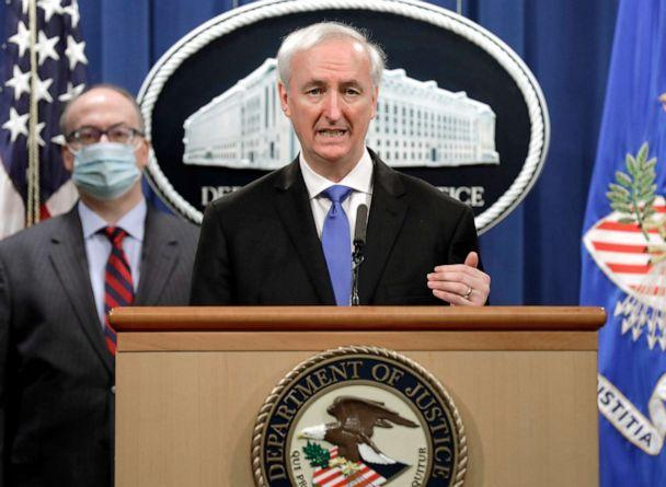 PHOTO: Deputy Attorney General Jeffrey Rosen holds a news conference to announce the results of the global resolution of criminal and civil investigations with an opioid manufacturer at the Justice Department on Oct. 21, 2020 in Washington, D.C. (Yuri Gripas-Pool/Getty Images, FILE)