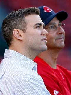 Red Sox GM Theo Epstein (left) and manager Terry Francona took turns denying rumors that they don't see eye-to-eye