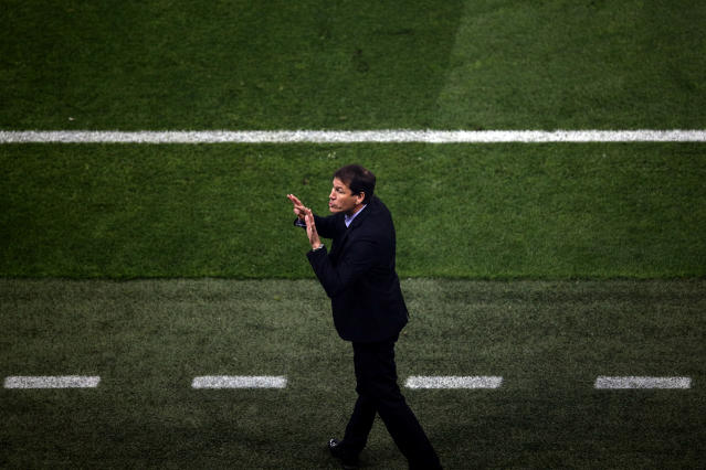 Marseille's coach Rudi Garcia reacts during the Europa League Final soccer match between Marseille and Atletico Madrid at the Stade de Lyon outside Lyon, France, Wednesday, May 16, 2018. (AP Photo/Christophe Ena)