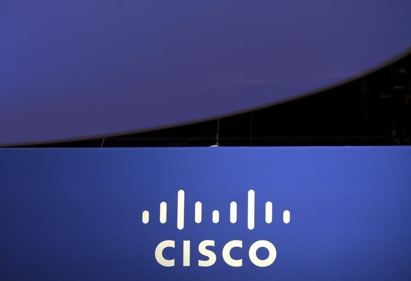 The Cisco Systems logo is seen as part of a display at the Microsoft Ignite technology conference in Chicago