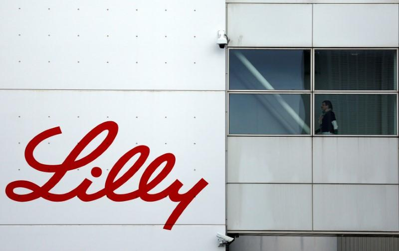 The logo of Lilly is seen on a wall of the Lilly France company unit, part of the Eli Lilly and Co drugmaker group, in Fegersheim near Strasbourg
