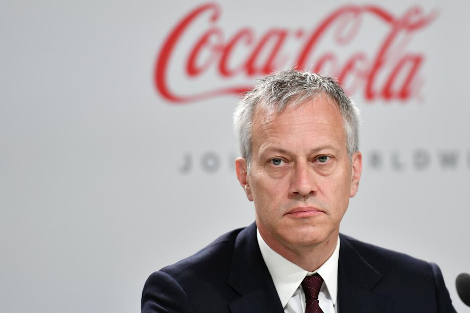 Coca-Cola President and CEO James Quincey attends a press conference with International Olympic Committee (IOC) president and China Mengniu Dairy CEO and Executive Director, as part of the 134th Session of the International Olympic Committee (IOC) at the SwissTech Convention Centre in Lausanne, on June 24, 2019. - The International Olympic Committee (IOC) in Lausanne, Switzerland, will elect in a final vote on June 24, 2019 the host city for the 2026 Winter Olympics. The two remaining host cities in the election process are Stockholm-Are, Sweden, and MilanCortina d'Ampezzo, Italy. (Photo by Fabrice COFFRINI / AFP)        (Photo credit should read FABRICE COFFRINI/AFP via Getty Images)