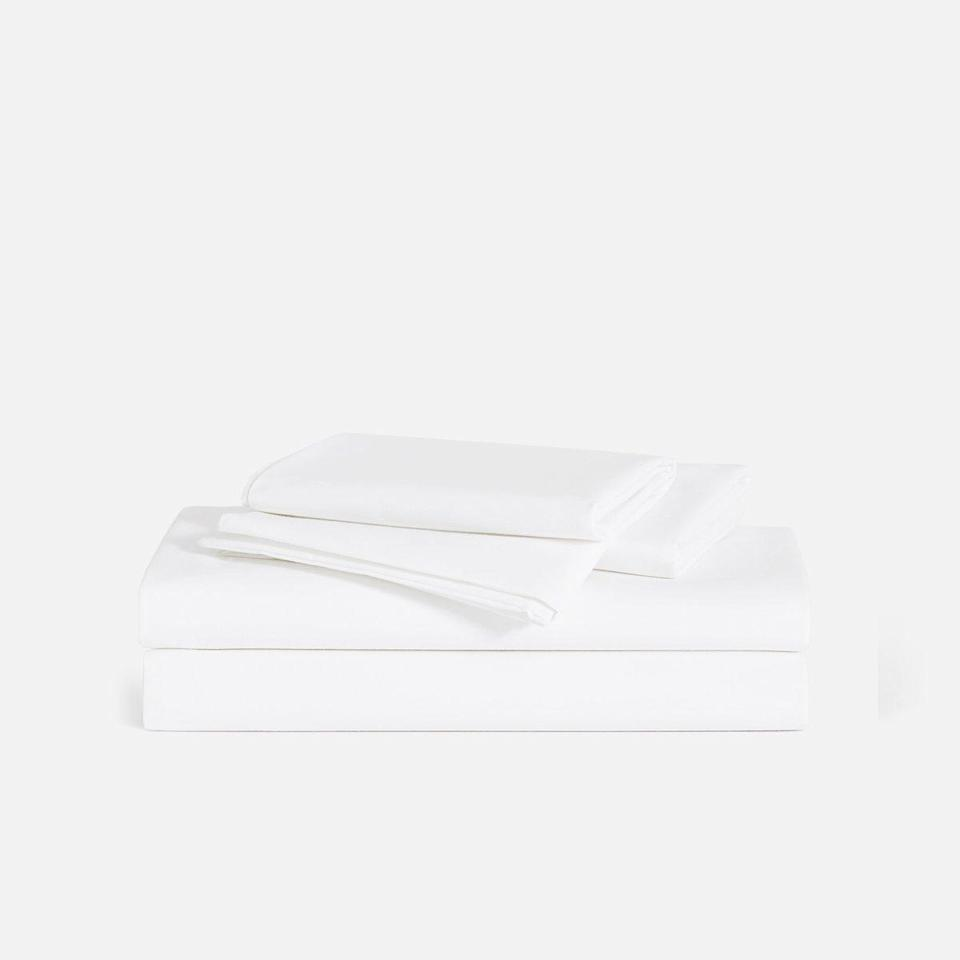 "<p>If you're looking for the perfect cotton sheets for that crisp, cool feel, the Brooklinen Classic Core Sheet Set is the move. Classic doesn't have to mean basic, and after just one night in this lightweight percale weave, commerce writer <a href=""https://www.glamour.com/contributor/talia-abbas?mbid=synd_yahoo_rss"" rel=""nofollow noopener"" target=""_blank"" data-ylk=""slk:Talia Abbas"" class=""link rapid-noclick-resp"">Talia Abbas</a> was ready to call them her main squeeze. ""Nothing says 'I have my life together' like a just-made bed, and this set is one of those Goldilocks finds in the bizarre and intimidating world of bedding—and adulting,"" she says. And despite their airiness, these sheets are durable and will last for the long haul. Bonus points for the array of colors and patterns to choose from.</p> <p><strong>Details:</strong></p> <ul> <li>Includes one flat sheet, one fitted sheet, and two pillowcases</li> <li>270 thread count cotton percale weave</li> <li>OEKO-TEX 100 certified</li> </ul> <p><strong>Star rating:</strong> 4.7 out of 5 stars</p> <p><strong>What customers say:</strong> ""These sheets feel cool, smooth, and sexy. Best bed sheets ever. Will be buying more."" —<em>Humphrey, reviewer on</em> <a href=""https://cna.st/affiliate-link/XG6wkdXU24XHEui6qnhNpceMNv1Zi8ko2ZTk6QXDC2Y8g7xarjYkCa6nz1cWPD48S1nL4y5cNL37ZN356it8gLh7MzwvqY?cid=5e56db47e739240008851f58"" rel=""nofollow noopener"" target=""_blank"" data-ylk=""slk:Brooklinen"" class=""link rapid-noclick-resp""><em>Brooklinen</em></a></p> $139, Broolinen. <a href=""https://www.brooklinen.com/products/classic-core-sheet-set?variant=24296797190"" rel=""nofollow noopener"" target=""_blank"" data-ylk=""slk:Get it now!"" class=""link rapid-noclick-resp"">Get it now!</a>"