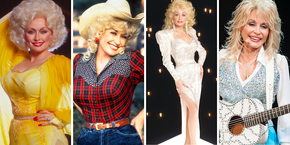 """<p>It's been over 50 years since her first album, <em><a href=""""https://www.amazon.com/Hello-Im-Dolly-Parton/dp/B018J7YLJG?tag=syn-yahoo-20&ascsubtag=%5Bartid%7C1782.g.35034126%5Bsrc%7Cyahoo-us"""" rel=""""nofollow noopener"""" target=""""_blank"""" data-ylk=""""slk:Hello, I'm Dolly"""" class=""""link rapid-noclick-resp"""">Hello, I'm Dolly</a></em>, came out in 1967, and<a href=""""https://www.oprahmag.com/entertainment/a28134640/dolly-parton-favorite-books/"""" rel=""""nofollow noopener"""" target=""""_blank"""" data-ylk=""""slk:Dolly Parton is as relevant"""" class=""""link rapid-noclick-resp""""> Dolly Parton is as relevant</a> as ever. Parton's<a href=""""https://www.oprahmag.com/life/relationships-love/a25629890/dolly-parton-carl-thomas-dean-marriage/"""" rel=""""nofollow noopener"""" target=""""_blank"""" data-ylk=""""slk:accomplishments are numerous"""" class=""""link rapid-noclick-resp""""> accomplishments are numerous</a>: She's a brilliant songwriter, a one-of-a-kind singer, a <a href=""""https://www.dollywood.com/"""" rel=""""nofollow noopener"""" target=""""_blank"""" data-ylk=""""slk:theme park"""" class=""""link rapid-noclick-resp"""">theme park</a> empress, a <a href=""""https://www.oprahmag.com/entertainment/a29846345/hearstrings-dolly-parton-netflix-episodes-premiere-cast/"""" rel=""""nofollow noopener"""" target=""""_blank"""" data-ylk=""""slk:TV show creator"""" class=""""link rapid-noclick-resp"""">TV show creator</a>, and the recipient of just about every award in music. Undeniably, Parton is also a style icon. The 73-year-old Tennessee-native has become just as famous for her over-the-top outfits as she has for her music. Let's take a whirlwind tour through some of her best looks. With any luck, some fabulousness will wear off.</p>"""