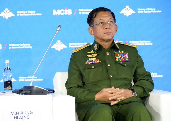 Commander-in-Chief of Myanmar's armed forces, Senior General Min Aung Hlaing attends the IX Moscow conference on international security in Moscow, Russia, Wednesday, June 23, 2021. (AP Photo/Alexander Zemlianichenko, Pool)