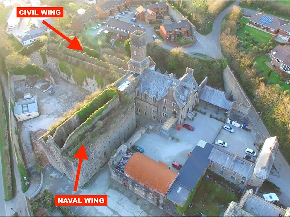 Bodmin Jail Hotel Aerial Skitched (Wings)