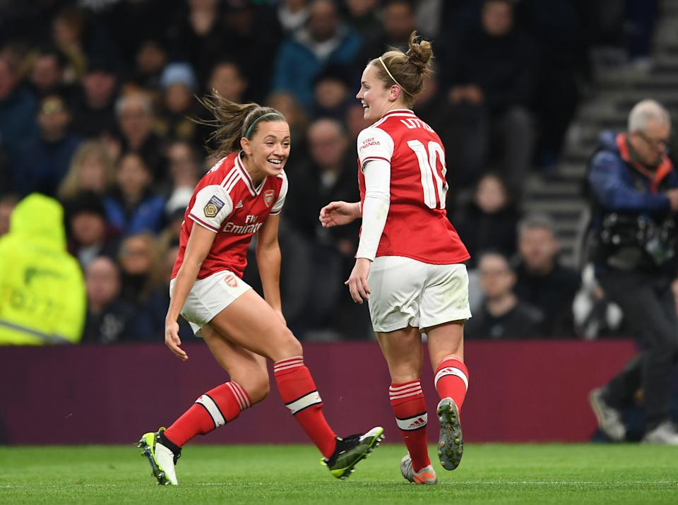 BARNET, ENGLAND - NOVEMBER 17: Kim Little celebrates scoring Arsenal's 1st goal with Katie McCabe during the Barclays FA Women's Super League match between Tottenham Hotspur and Arsenal at Tottenham Stadium on November 17, 2019 in Barnet, United Kingdom. (Photo by David Price/Arsenal FC via Getty Images)