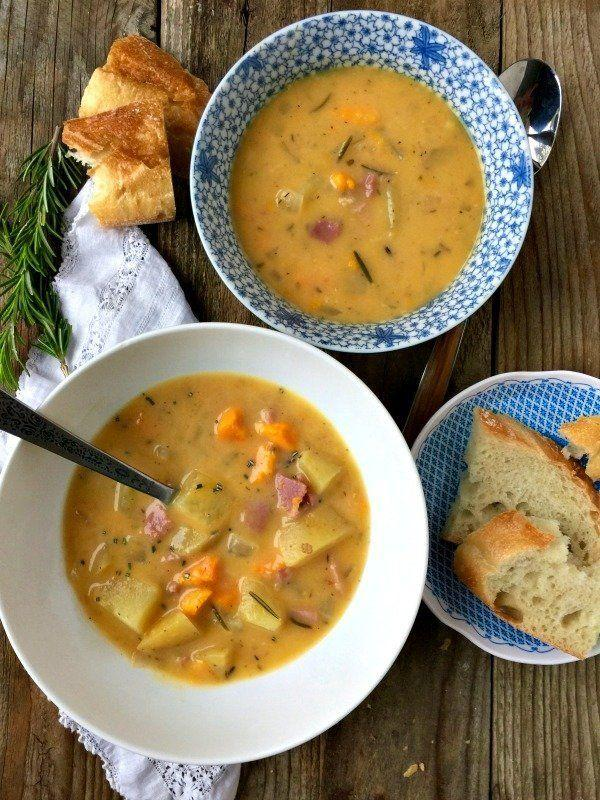 """<strong>Get the <a href=""""http://www.mountainmamacooks.com/2017/01/slow-cooker-rosemary-potato-soup-ham/"""" target=""""_blank"""">Slow Cooker Rosemary Potato Soup with Ham recipe</a>fromMountain Mama Cooks</strong>"""