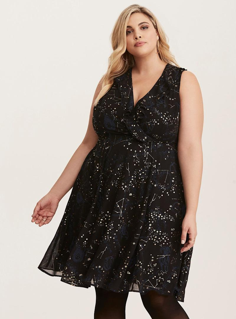 "From <a href=""http://www.torrid.com/product/multi-color-cosmic-print-chiffon-ruffle-skater-dress/11099592.html?cgid=dresses_holiday#start=6"" target=""_blank"">Torrid</a>. Comes up to a size 30."