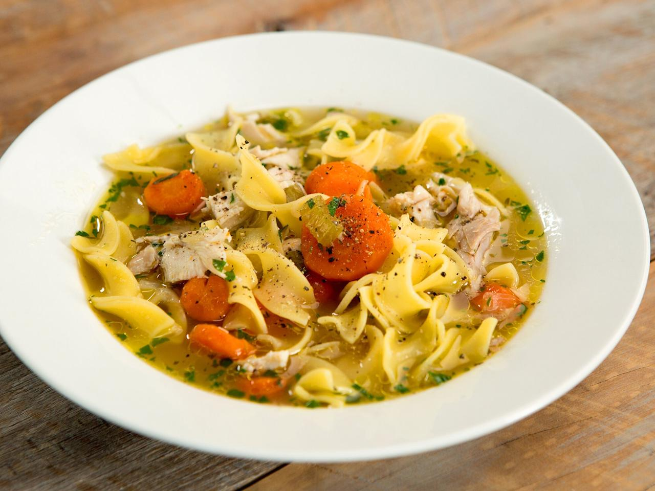 """<p>This chicken noodle soup may be simple, but nothing's wrong with that. Your Instant Pot or pressure cooker of choice makes this comforting and savory classic in just an hour. </p> <p><a href=""""https://www.myrecipes.com/recipe/instant-pot-chicken-soup"""">Instant Pot Chicken Soup Recipe</a></p>"""
