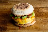 """There's no excuse to skip breakfast when you can have this light and fluffy egg sandwich ready in 5 minutes or less. Besides eggs and an English muffin, you'll need grated cheddar, hot sauce, and fresh avocado. <a href=""""https://www.epicurious.com/recipes/food/views/microwave-egg-sandwich-with-cheddar-and-avocado?mbid=synd_yahoo_rss"""" rel=""""nofollow noopener"""" target=""""_blank"""" data-ylk=""""slk:See recipe."""" class=""""link rapid-noclick-resp"""">See recipe.</a>"""