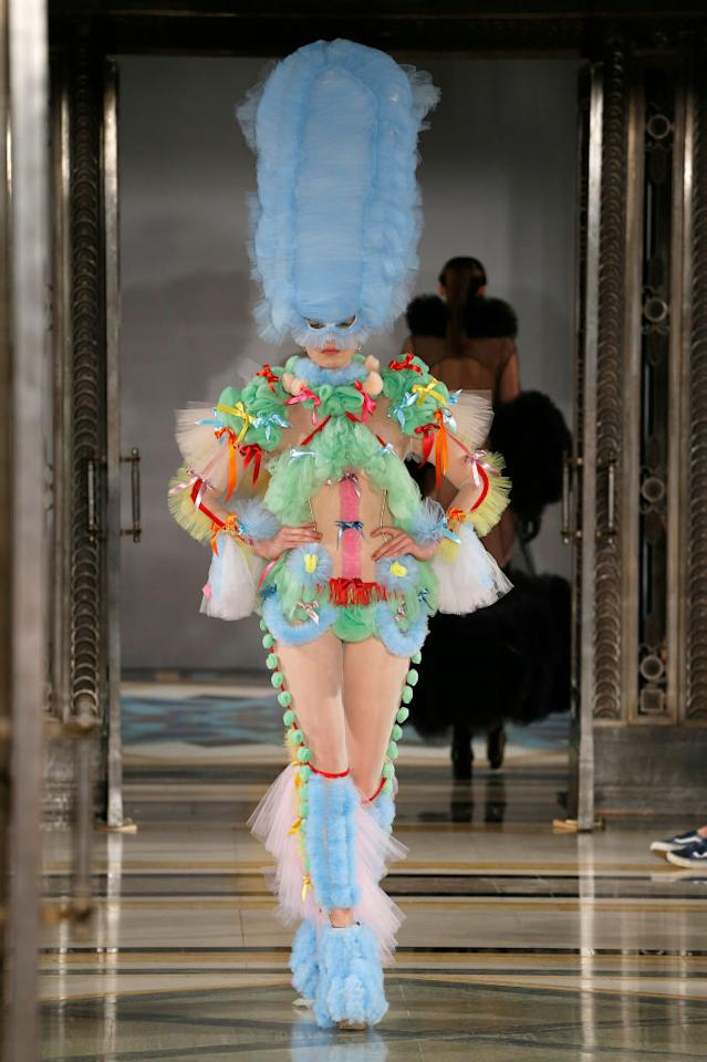 <p>Pam Hogg never fails to get the fashion crowd talking (and Instagramming). This season, the designer sent models down the runway in a plethora of voluminous ensembles fashioned from pastel-hued tulle. We're talking everything from ceiling-grazing masks to legwarmers. Photo: Getty </p>