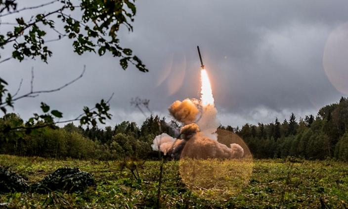 """<span class=""""element-image__caption"""">Donald Trump first announced he would leave the INF agreement in October 2018.</span> <span class=""""element-image__credit"""">Photograph: Konstantin Alysh/Russian defence ministry handout/EPA</span>"""