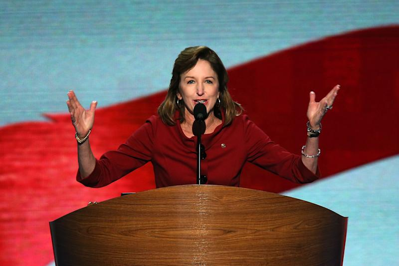 """<a href=""""http://www.senate.gov/artandhistory/history/common/briefing/women_senators.htm""""><strong>Served from:</strong></a> 2009 to present Sen. Kay Hagan (D-N.C.) speaks during the final day of the Democratic National Convention at Time Warner Cable Arena on September 6, 2012 in Charlotte, North Carolina. (Photo by Alex Wong/Getty Images)"""