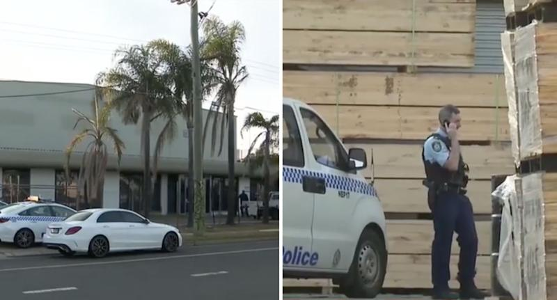 Police at the scene at the St Mary's workplace accident. Source: Nine News