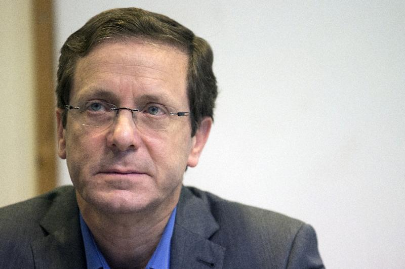 """Speaking at a panel discussion, opposition Labour party leader Isaac Herzog, seen on March 18, 2015, in Tel Aviv, called on the Israeli government """"to act toward receiving refugees from the war in Syria"""""""