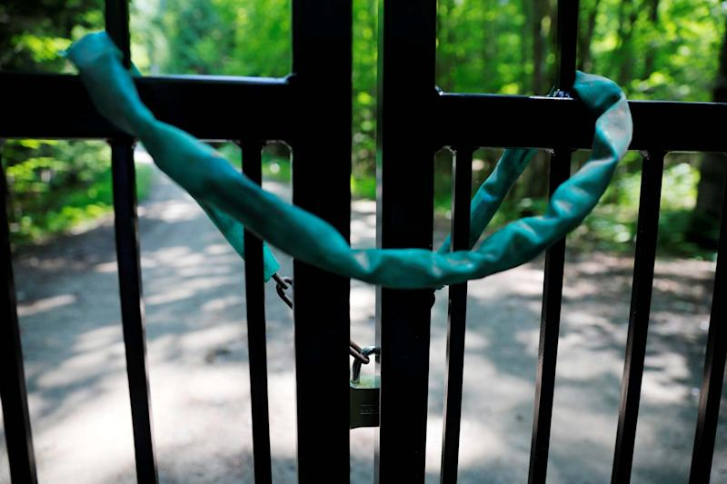 A locked gate blocked the driveway to the property where Ghislaine Maxwell was residing (REUTERS)