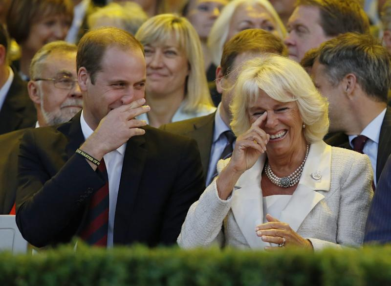 Prince William and Camilla Parker Bowles laughing during the opening ceremony of the Invictus Games, a sporting event for wounded servicemen and women, in London, September 2014.