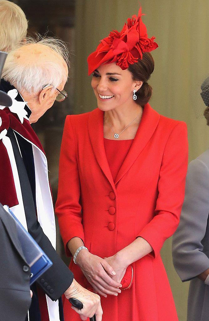 <p>Kate's bespoke ensemble she wore to the Order of The Garter Service at Windsor Castle was designed by London's Catherine Walker.</p>