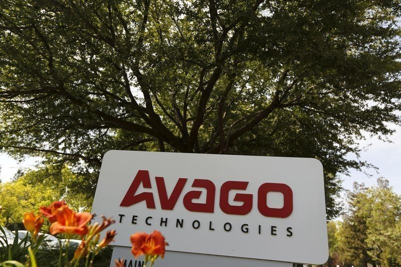 A sign is seen at the entrance to the headquarters of Avago Technologies in San Jose