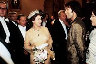 <p>Queen Elizabeth looked stunned meeting singer Cliff Richard and, after seeing his gilded blazer, we can see why. It's bold, sure. But dare we say that it also somehow works?</p>