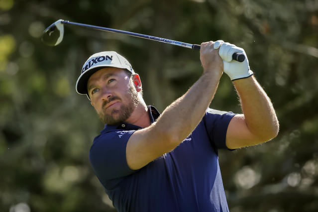 Graeme McDowell, of Northern Ireland, watches his drive off the second tee during the third round of the RSM Classic golf tournament on Saturday, Nov. 17, 2018, in St. Simons Island, Ga. (AP Photo/Stephen B. Morton)