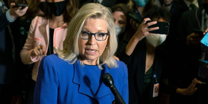 Liz Cheney, a Republican representative from Wyoming, speaking with reporters.