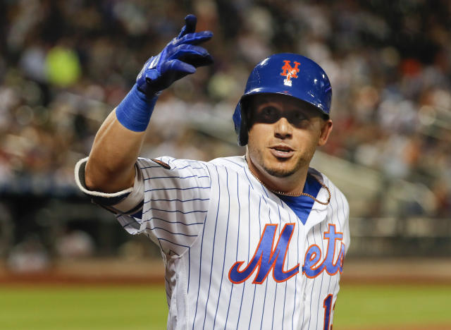 New York Mets' Asdrubal Cabrera gestures after hitting a solo home run against the Washington Nationals during the eighth inning of a baseball game Thursday, July 12, 2018, in New York.(AP Photo/Julie Jacobson)