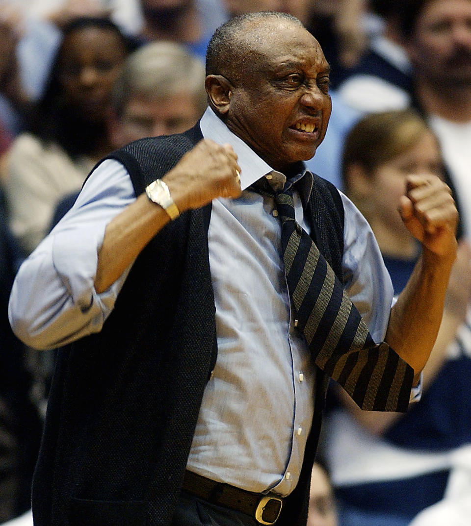 FILE - Temple head coach John Chaney reacts to a foul call in the first half of an NCAA college basketball game against Duke in Durham, N.C., in this Jan. 8, 2005, file photo. John Chaney, one of the nations leading Black coaches and a commanding figure during a Hall of Fame basketball career at Temple, has died. He was 89. His death was announced by the university Friday, Jan. 29, 2021.(AP Photo/Sara D. Davis, File)