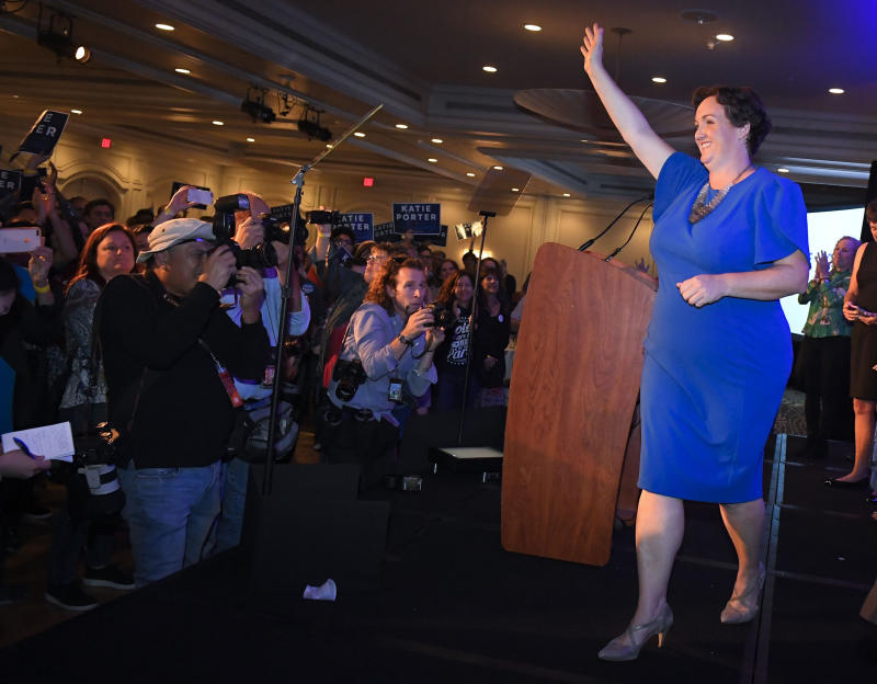 Katie Porter, the Democratic candidate for the 45th Congressional District, waves to supporters after speaking on election night in Irvine on Tuesday, Nov. 6, 2018. (Digital First Media/Orange County Register via Getty Images via Getty Images)