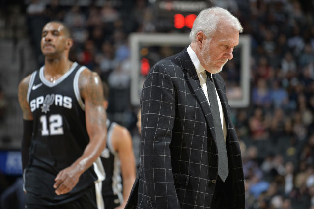 Gregg Popovich's Spurs have been in a tailspin since the start of February, and it's got them on the outside of the Western playoff picture looking in right now. (Getty)