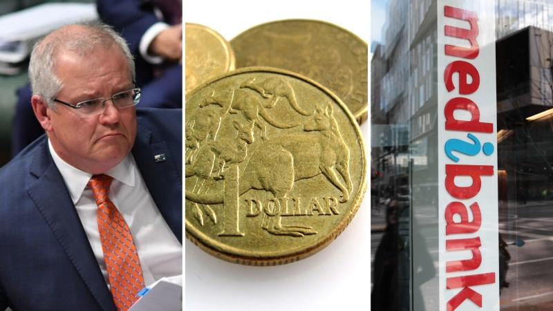Scott Morrison on the left, one dollar coins in the centre and a sign of Medibank on the right.