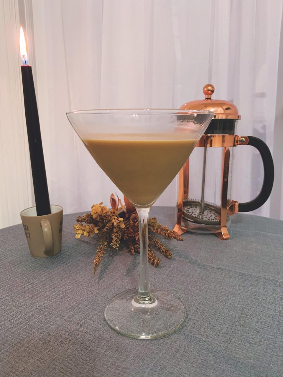 <p><b>Serves:</b> 1   <b>Prep Time:</b> 22 minutes</p> <p><b>Ingredients:</b><br> 1 1/2 ounces espresso<br> 1 ounce vodka<br> 1 teaspoon simple syrup<br> 1 ounce heavy cream</p> <p><b>Directions:</b></p> <ol> <li>Brew espresso and let it sit for 20 minutes to cool.</li> <li>Pour the espresso over ice in a rocks glass and give it a stir to cool it further.</li> <li>Add vodka and simple syrup.</li> <li>Add the heavy cream and stir well.</li> </ol>