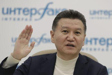 FIDE President Ilyumzhinov gestures during news briefing in Moscow