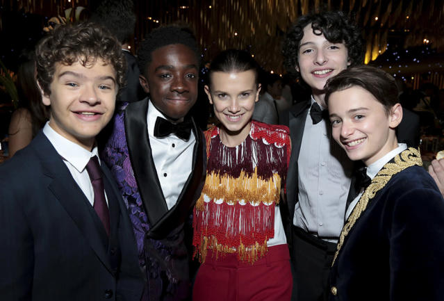 <p><em>Stranger Things</em> didn't win. So what? The kids — Gaten Matarazzo, Caleb McLaughlin, Millie Bobby Brown, Finn Wolfhard, and Noah Schnapp — still celebrated as a pack at the Governors Ball. (Photo: Alex Berliner/Invision for the Television Academy/AP Images) </p>