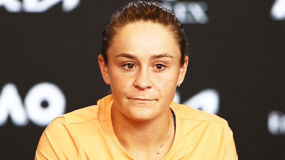 Ash Barty (pictured) at a press conference after her Australian Open loss.