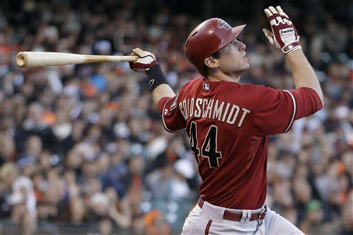 Arizona Diamondbacks' Paul Goldschmidt fouls off a pitch from San Francisco Giants' Tim Lincecum in the second inning of a baseball game on Wednesday, May 30, 2012, in San Francisco. (AP Photo/Ben Margot)