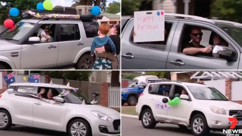 Four square images of three-year-old Louie's birthday drive-by parade in Perth under coronavirus isolation