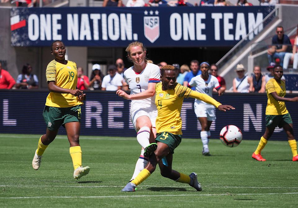 USA midfielder Samantha Mewis (3) scores a goal past South Africa defender Noko Matlou (4) during the first half of Saturday's friendly. (USA Today)