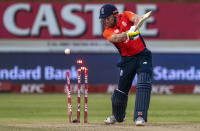 England's batsman Jonny Bairstow is bowled by South Africa's bowler Andile Phehlukwayo for 35 runs during the 2nd T20 cricket match between South Africa and England at Kingsmead stadium in Durban, South Africa, Friday, Feb. 14, 2020. (AP Photo/Themba Hadebe)