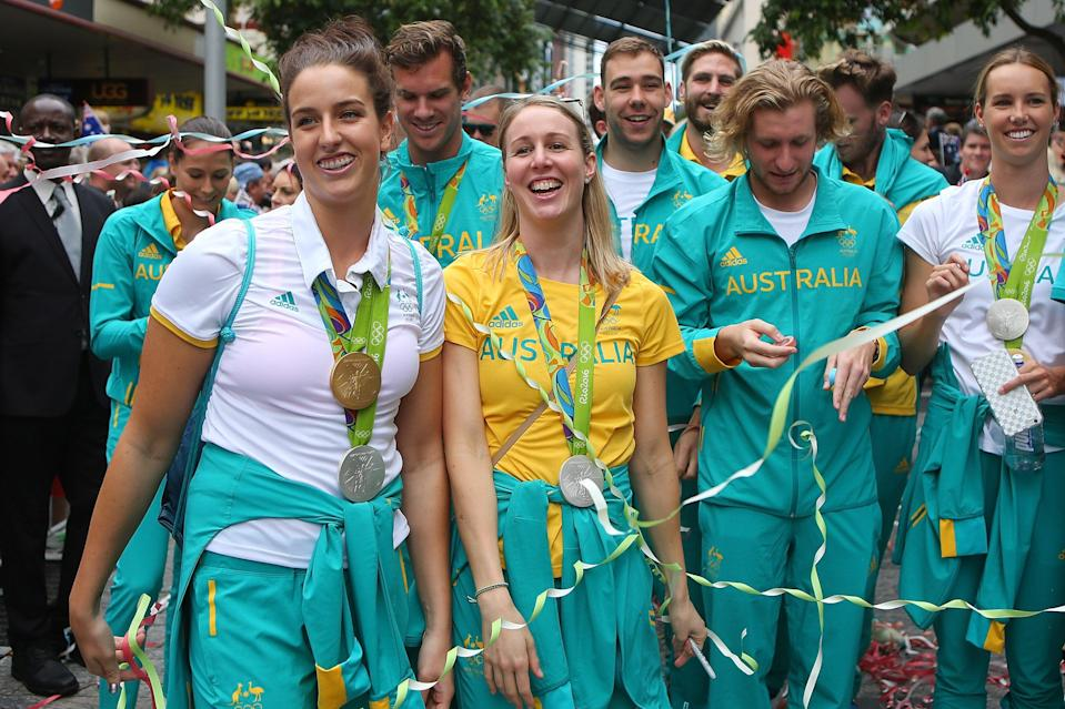 Australian athletes at a homecoming event in Brisbane after the 2016 Games in Rio  (Getty Images)